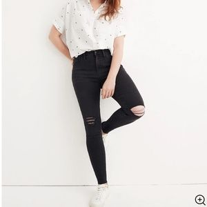 """Madewell 9"""" Mid-Rise Skinny Jeans in Black Sea"""